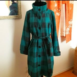 Original Penguin Teal & Grey Plaid Coat Size Large